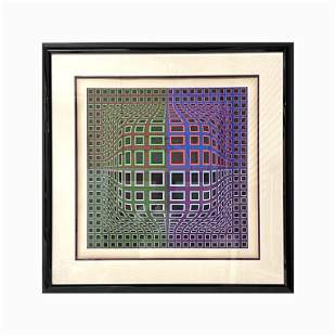Victor Vasarely Abstract in Purple & Green