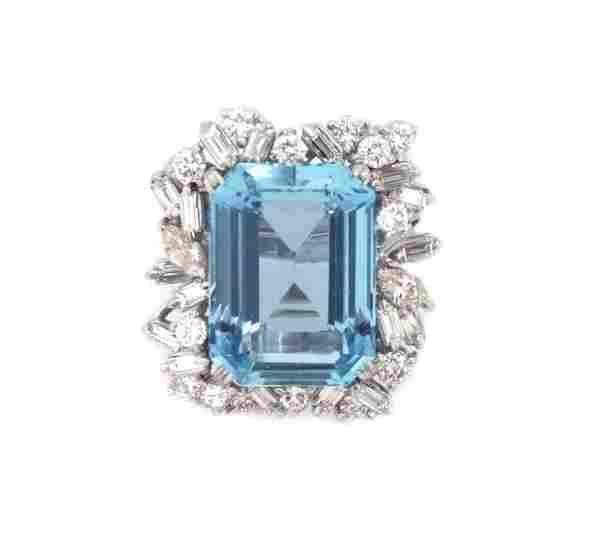Estate 23 Carat Diamond Aquamarine & Platinum Rect