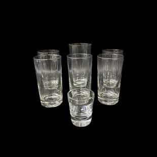 (Set) Vintage Crystal Water Glasses & Shot Glass