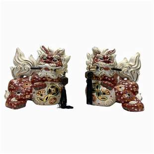 Pair of Chinese Porcelain Foo Lions
