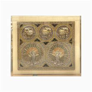 Embroidered / Mixed Media Elephant's in Lucite Box