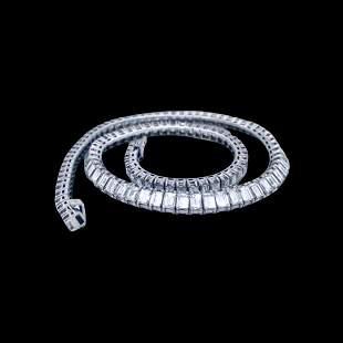 44.00 Ct Art Deco Diamond Tennis Necklace