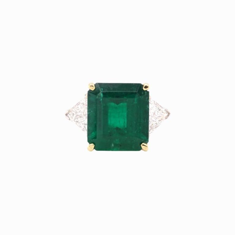 Estate 10.06ct Emerald And 2.00ct Diamond Ring