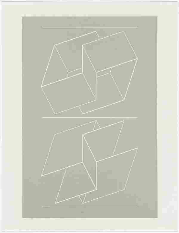 "Josef Albers ""White Embossing On Gray IX"""