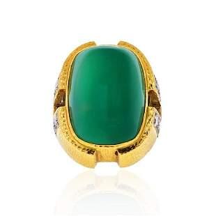 DAVID WEBB GREEN CABOCHON ONYX, DIAMOND RING