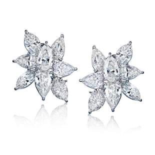 14K WHITE GOLD 18.53 CT CLUSTER DIAMOND EARRINGS