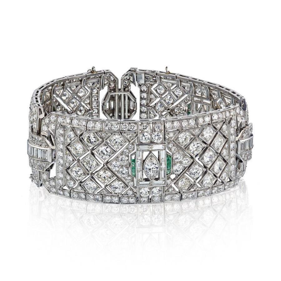 ART DECO PLATINUM DIAMOND & GREEN EMERALD BRACELET
