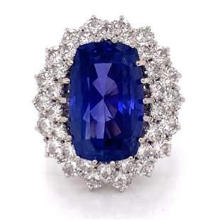 19.27 Ct. No Heat Ceylon Sapphire & Diamond Ring