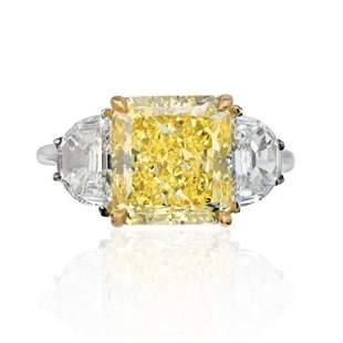 5 CARAT RADIANT CUT DIAMOND FANCY INTENSE YELLOW