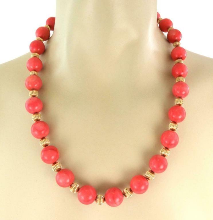 Vintage Tiffany & Co. Vintage 15.5mm Coral Bead 14