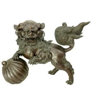 Large Chinese Bronze Buddhist Lion