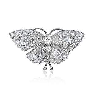 PLATINUM 13.50 CARAT DIAMOND VINTAGE BUTTERFLY