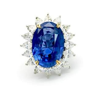 33.64 Ct GIA Certified Sapphire & Diamond Ring