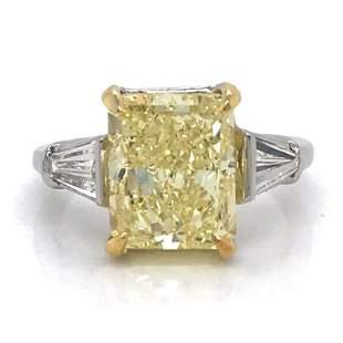 5.09 Ct GIA Certified Fancy Yellow Diamond Engagem