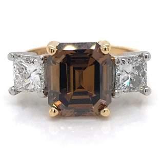 3.14 Ct. Champagne Diamond Engagement Ring