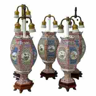 5 Chinese Porcelain Lamps
