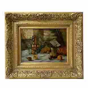 Antique Still Life Oil on Canvas