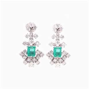 2.20ct Emerald And 2.50ct Diamond Earrings
