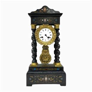 Antique French Table Clock with Pendulum
