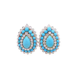 18K Two-Tone Gold and Turquoise Earrings