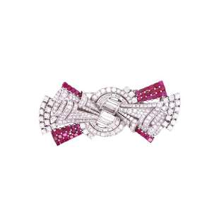 Platinum, Ruby, and Diamonds Brooch