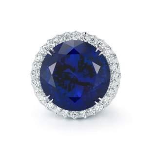ROYAL BLUE TANZANITE AND DIAMOND RING