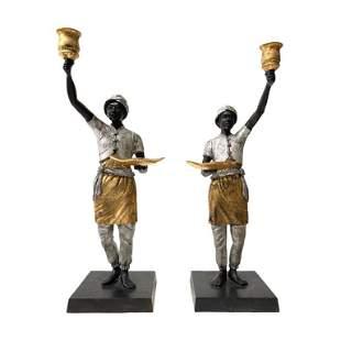 Pair of African Bronze Statues / Candlesticks