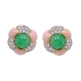 Pair of Jade And Enamel Earrings