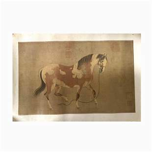 Chinese Print Featuring a Horse and Imperial Marks