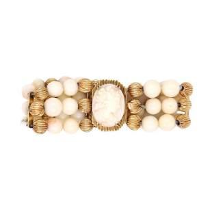 14 Karat Yellow Gold And Coral Bracelet