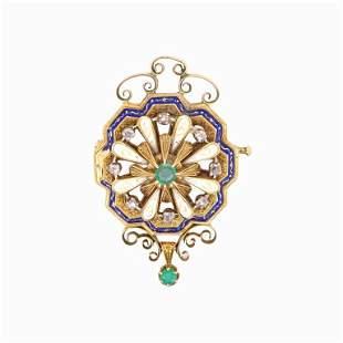 Emerald, Diamond And Enamel Pendant