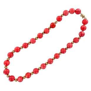 Tiffany & Company Rare Large Coral Bead Necklace