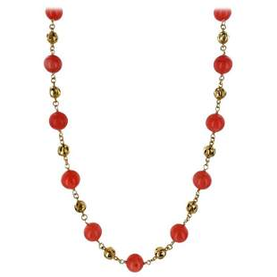 Tiffany & Co. Coral 18K Yellow Gold Bead Necklace