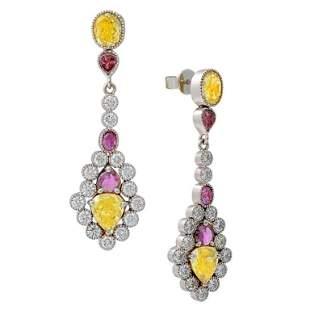 7.34 Carat White Yellow Purple Diamond Earrings