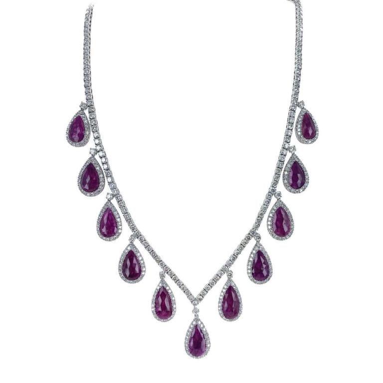 Natural Ruby Diamond 18 Karat White Gold Earrings