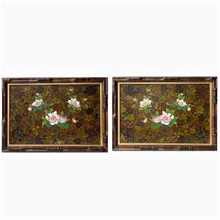 Pair of Chinese Painted Plaques with Bamboo Frame