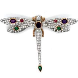 Diamond & Gemstone Butterfly Brooch