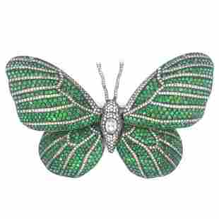 Diamond And Tsavorite Garnet Butterfly Pin