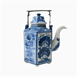 Chinese Blue & White Porcelain Kettle