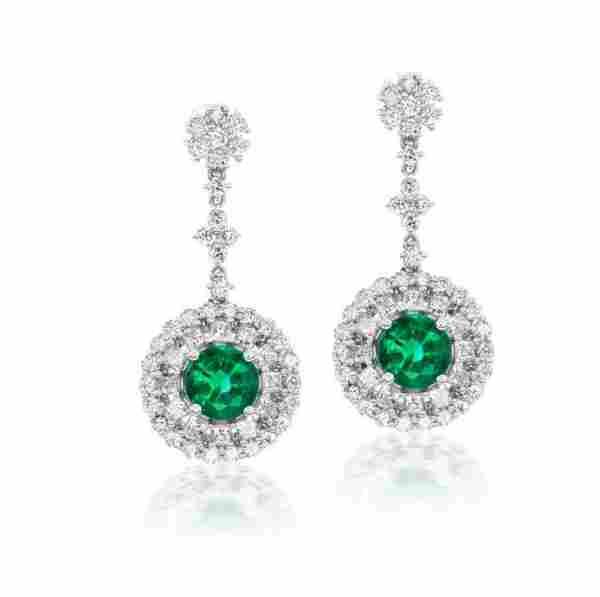 PETITE ROUND EMERALD AND DIAMOND EARRINGS