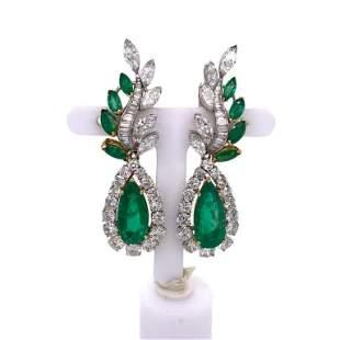 1960's Colombian Emerald Diamond Platinum 18 Karat