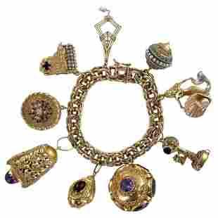 1960s Vintage Yellow Gold Garnet Amethyst Pearl