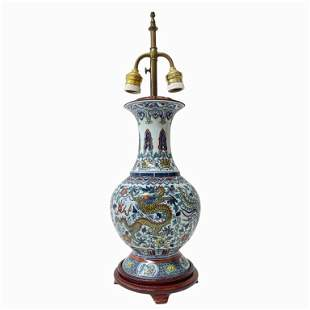 Chinese Porcelain Lamp with Dragons