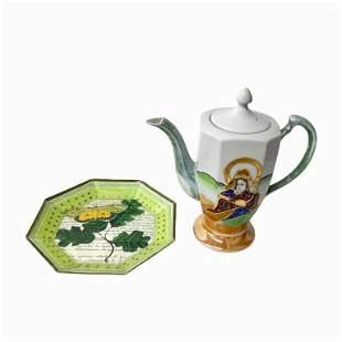 Contemporary Glazed Porcelain Tea Pot and Dish