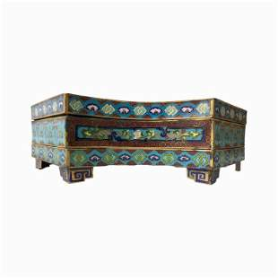 Chinese Cloisonne Three-Tiered Scholar's Box