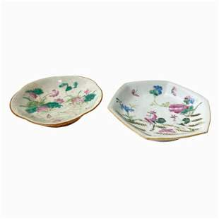 Two Antique Chinese Footed Dishes