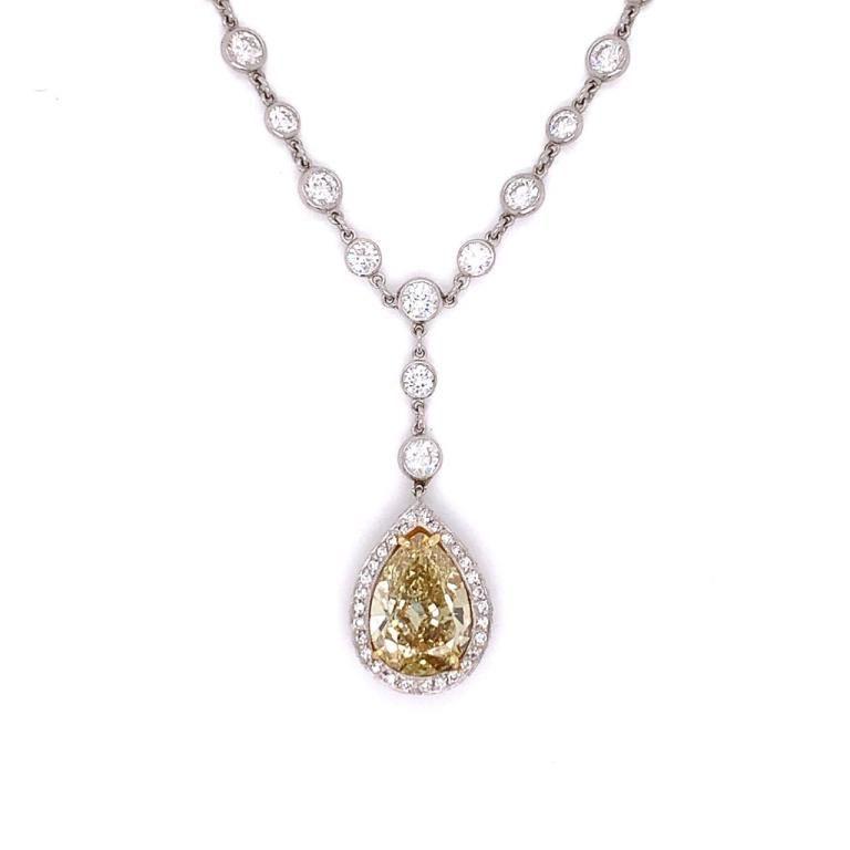 3.01 Ct. GIA Certified Fancy Yellow Diamond Neckla