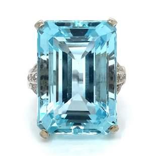 45.00 Ct Aqua And Diamond Art Deco Ring