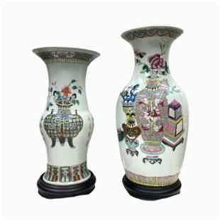 2 Celadon Glazed Chinese Porcelain Vases