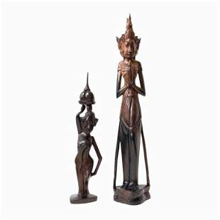 Taiwanese Carved Wood Female Figures